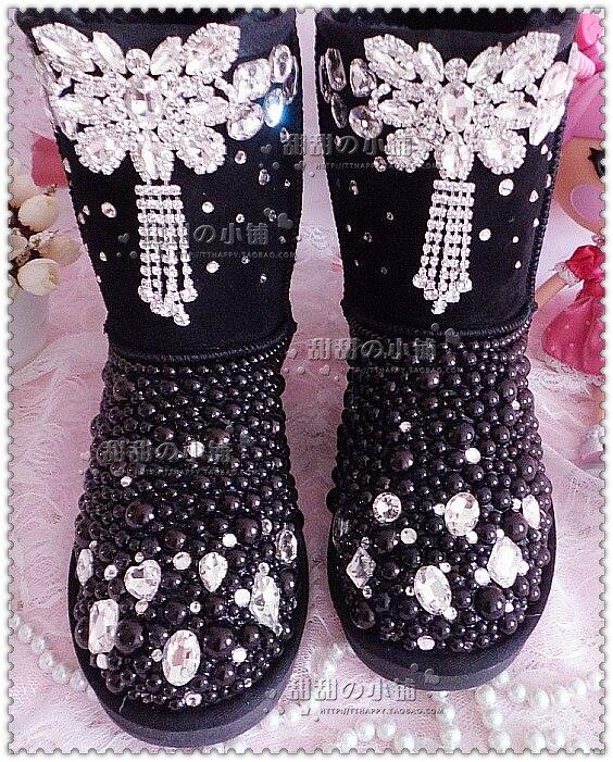 Zapatos Para Diamantes Mujeres Marca De Invierno Nieve Cuero Planos Tobillo Calientes Nueva Imitación Botas Piel Las Gamuza v6EBBq