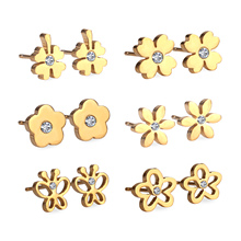 New 6Pairs Box Stainless Steel Mixed Stud Earrings with Crystal Cubic Zirconia Fashion Surgical Earrings Women