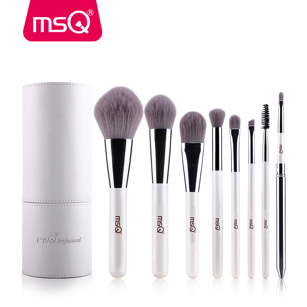 где купить MSQ Makeup Brushes Professional Zodiac Cosmetics Brush Set 8pcs High Quality Synthetic Hair With White Cylinder Brush Set по лучшей цене