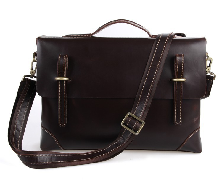 Men's Briefcases Cow Leather Business Travel Bags 2019 Man Shoulder Messenger Crossbody Bags Casual Vintage 15