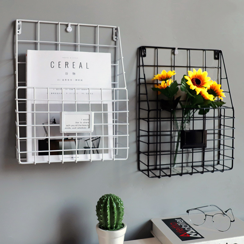 Us 15 39 30 Off Creative Minimalist Wrought Iron Wall Mounted Newspaper Racks Storage Basket Murals Home Decoration In Figurines