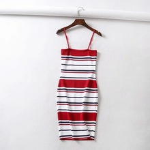 Yuxinfeng New Fashion Stripe Dresses Sleeveless Women Striped Party Knitted Dress Casual Patchwork Bodycon Dress Vestidos Femme