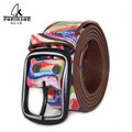 2016 Unisex leather belt vintage retro handmade genuine leather woman jeans belts high fashioh Abstract print belt