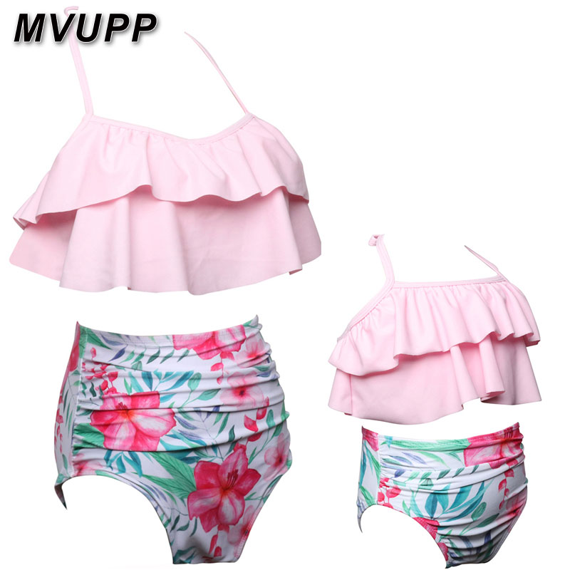 HTB1PfFKaPzuK1Rjy0Fpq6yEpFXap mother daughter swimsuit family matching outfits swimwear mommy and me clothes mom baby bikini mama look high waist summer