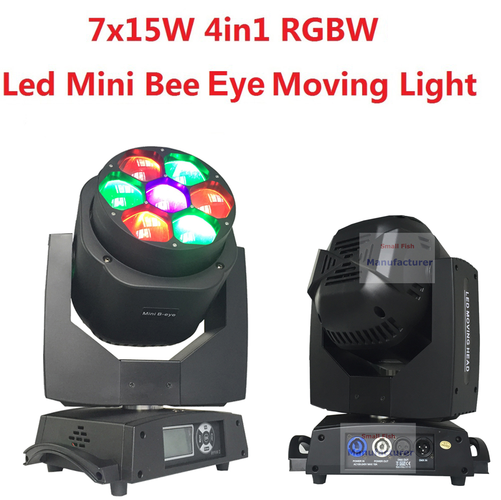 2xLot New Led Mini Bee Eye Moving Head Light 7x15W RGBW Professional Stage Lights 4-60 degree Zoom DJ DMX Disco Beam Wash Effect стоимость
