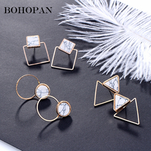 Detachable Geometric Stud Earrings Women White Marble Triangle Round Square Metal Earrings Fashion Jewelry Female orecchini Gift