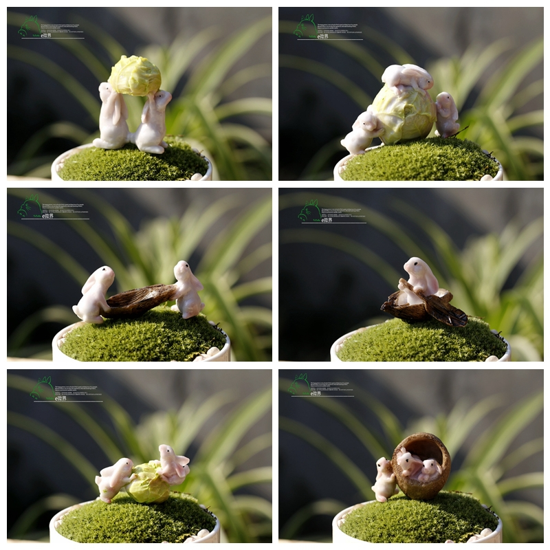6pcs Lot Cute Bunny Rabbits Resin Fairy Garden Miniatures Gnome Moss Terrarium Decor Craft Bonsai