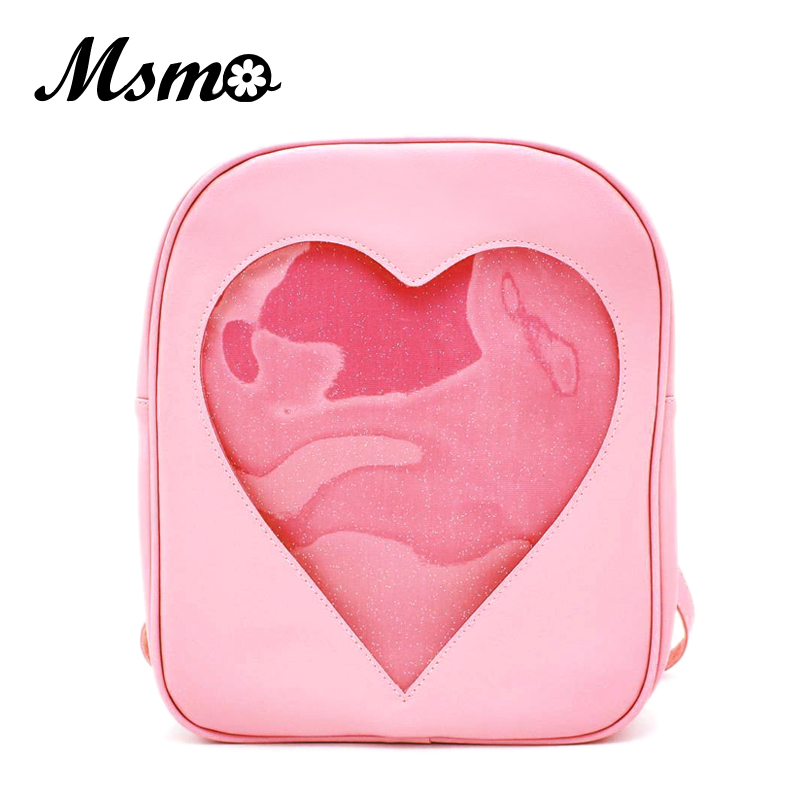 2017 Summer Candy Transparent Love Heart Shape Ryggsekk Harajuku School Ryggsekk Shoulder Bags For Teenager Girls Book Bag