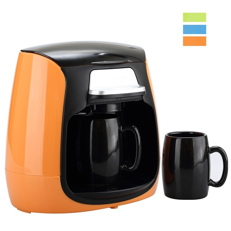 DMWD 1 Cup / 2 Cups Mini Drip Type Coffee Machine Automatic American Coffee Maker With Ceramic Mug Cup Home Tea Maker 220V household fully automatic coffee maker cup portable mini burr coffee makers cup usb rechargeable capsule coffee machine