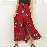 2017 Fashion Women Summer Vintage Long Single Breasted Skirt Floral Print Skirt Split Maxi Half S3