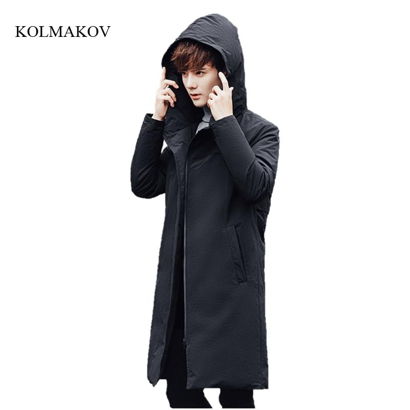 New arrival winter style men boutique long down coats fashion casual hooded zipper coat mens Spliced slim overcoat size M-3XL