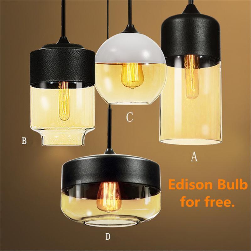 American Minimalist E27 Pendant Lights Dining Room Restaurant Bar Lamp 1  Head Home Lighting Edison Glass