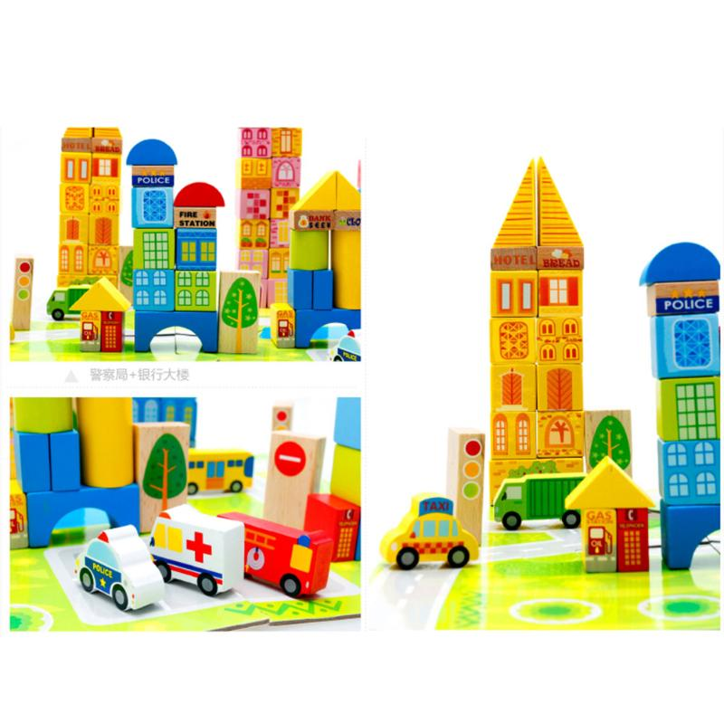 100pcs DIY Wooden Baby Toys Cartoon Images City Traffic Wood Building Blocks Early Educational Toys Gift for Children 50pcs hot sale wooden intelligence stick education wooden toys building blocks montessori mathematical gift baby toys