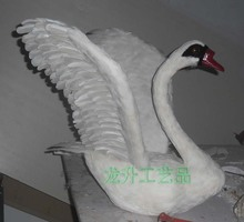 new beautiful white simulation swan toy Foam and feathers wings swan props gift about 52x55cm