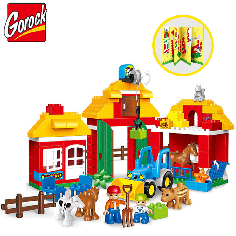 Gorock 123PS Happy Farm Animals Model Large Particles Building Blocks Compatible With Duplo Educational DIY Brick Toy For Kids kid s home toys large particles happy farm animals paradise model building blocks large size diy brick toy compatible with duplo