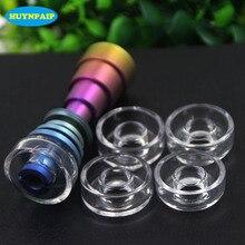 2016 Rainbow Domeless Titanium nail titanium Nail with Quartz Carb Cap 10mm 14.4mm 18mmfor Glass Bongs glass Oil Rigs