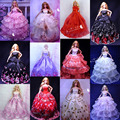 50 Pcs / Lot Wholesale Doll Accessories Beautiful Elegant Wedding Dresses Clothes Evening Dress for Barbie Doll Free Shipping