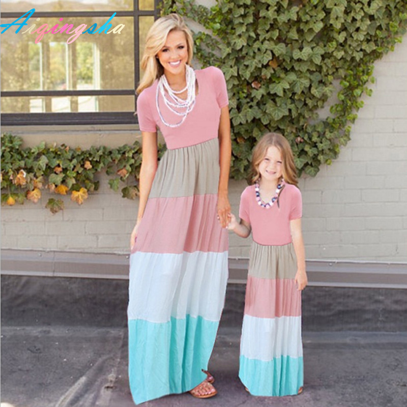 Mother Daughter Dress Mom Baby Evening Beach Dress Kids Girls Patchwork Sets Family Look Maxi Stripe Dresses Parent Child Outfit