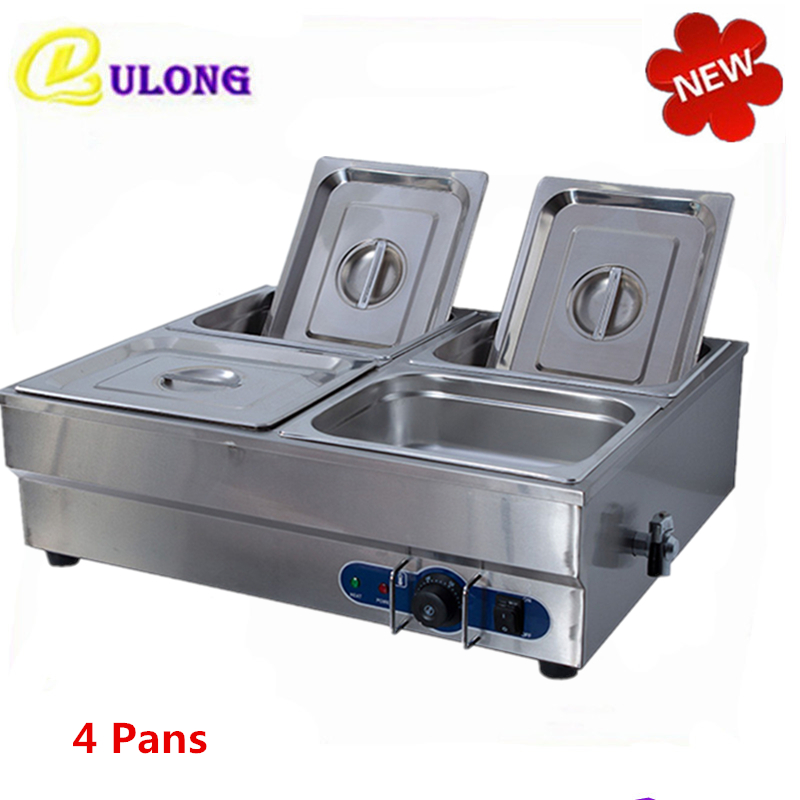 220V commercial bain marie with 4 pan warmer soup pool stainless steel food countertop buffet container
