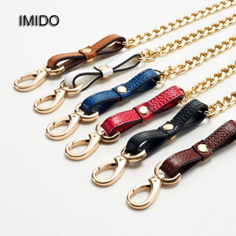 IMIDO Genuine Leather bag Strap Women replacement straps shoulder belt handbags accessories parts Gold Chain White Green STP024 new bullet head bobbin holder with ceramic tube tip protecting lines brass copper material