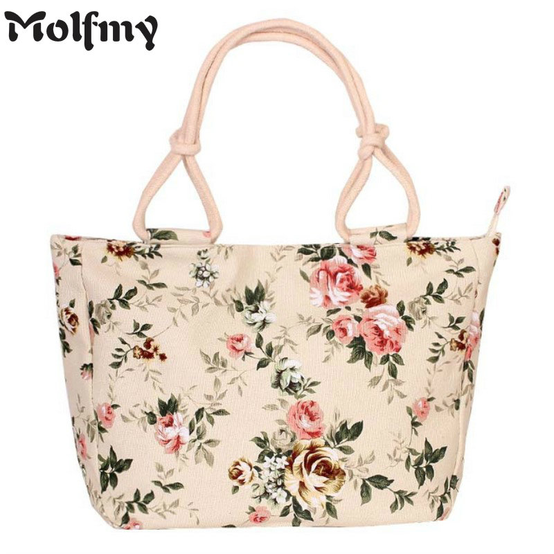 2019 Fashion Folding Women Big Size Handbag Tote Ladies Casual Flower Printing Canvas Graffiti Shoulder Bag Beach Bolsa Feminina(China)