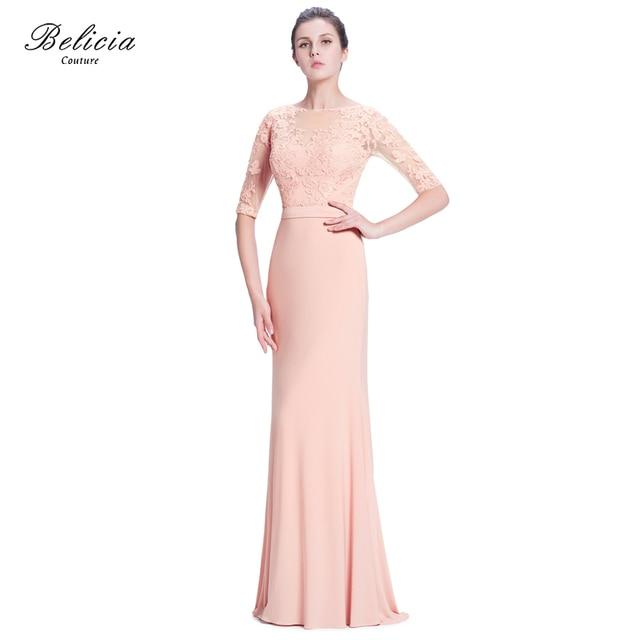 Belicia Couture Sirena Elegante Vestido De Noche con Sheer Volver ...