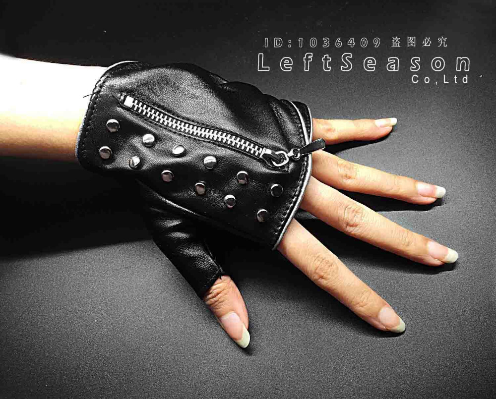 Leather driving gloves with zipper - Women Punk Leather Rivet Zipper Biker Rock Half Finger Driving Fingerless Gloves China Mainland