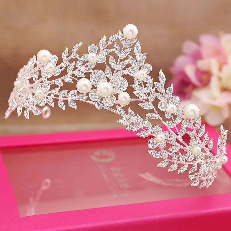 pearl crystal leaf princess tiara queen crown bride wedding hair accessories bridal tiara wholesale цена