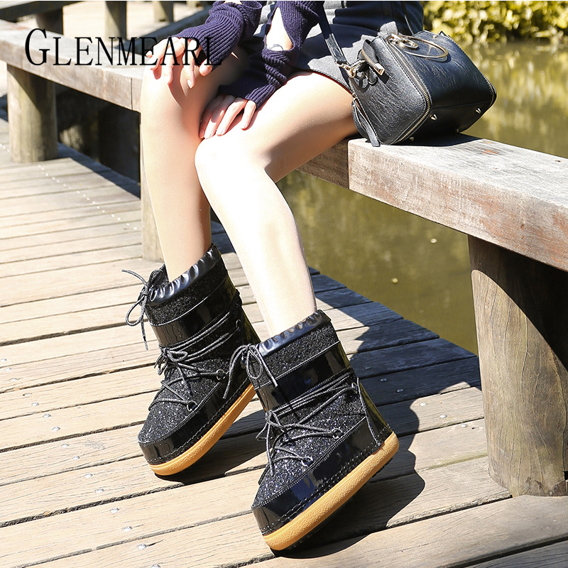 Image 5 - Snow Boots Winter Ankle Boots Women Shoes Fur Warm Boots Female Plus Size Casual Shoes Platform Non Slip Gold Bling Lack Up DE-in Ankle Boots from Shoes