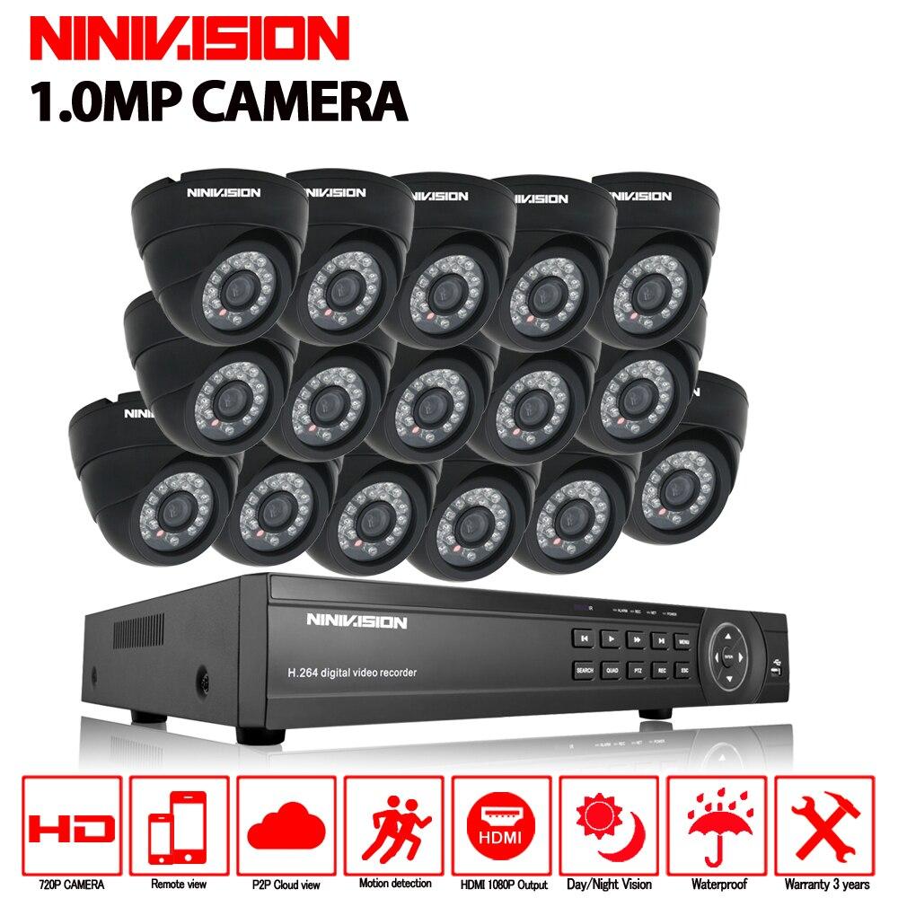 16ch CCTV Système 720 p AHD Caméra 16 pcs Caméra de Sécurité Système AHD DVR 1080 p HDMI CCTV DVR Enregistreur 1.0MP CCTV système de Caméra kit