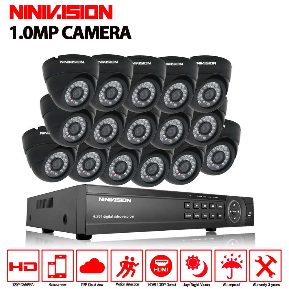 цена 16ch CCTV System 720P AHD Camera 16PCs Security Camera System AHD DVR 1080P HDMI CCTV DVR Recorder 1.0MP CCTV Camera system kit