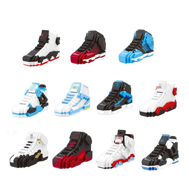 Hot sport Basketball shoes nanoblock air jordan brick aj XI XIII III  assemable model micro diamond building block toy collection 6c9d40ecf