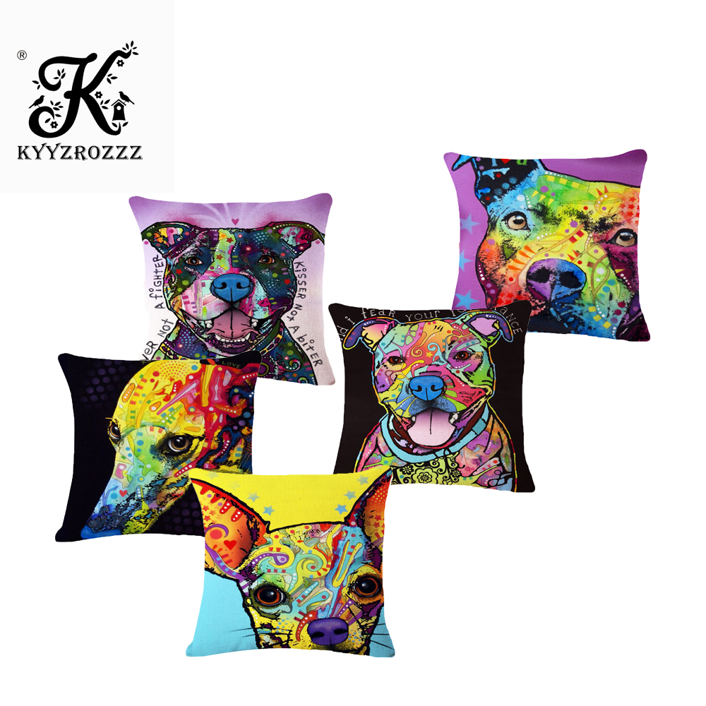 Square 45x45cm Cotton Linen colourful Painted Bulldog Dog One Side Printed Cushion Cover For Home Sofa Pillow Cover