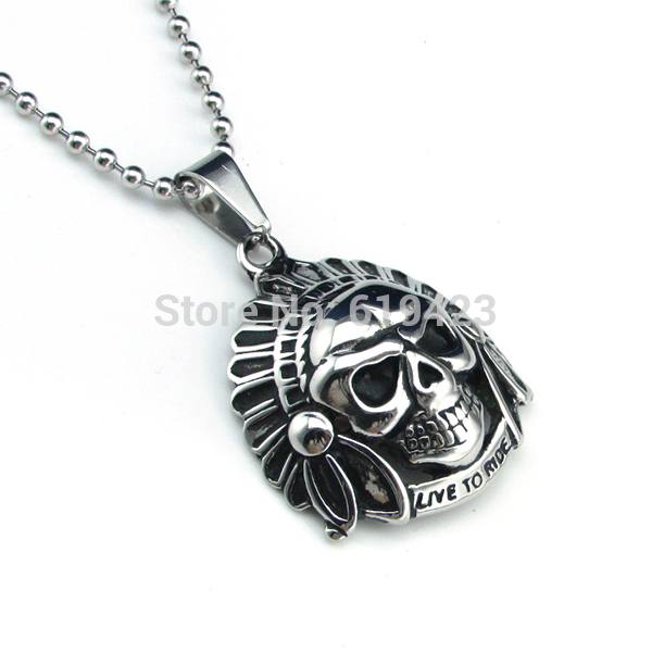 Catiger Factory Store Free Shipping !  5pcs/lot 100% Biker Vintage Gothic Tribal Chiefs Skull 316L Stainless Steel Chain Pendant