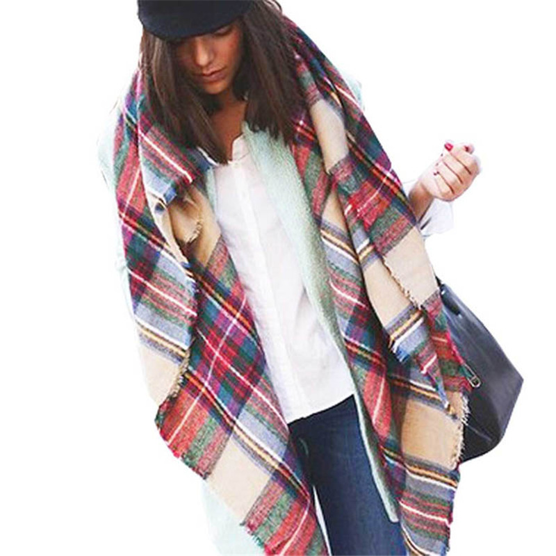 Hot Wool Blend Blanket Oversized font b Tartan b font Scarf Wrap Shawl Plaid Checked Pashmina