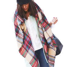 Hot Wool Blend Blanket Oversized Tartan Scarf Wrap Shawl Plaid Checked Pashmina