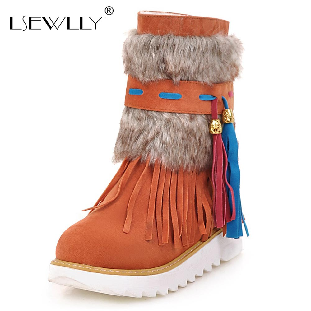 Lsewilly Ankle Women Boots flat Heel Black women Shoes Beaded Plush Suede Nubuck winter Boot Woman tassel warm snow boots AA554