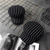 Retro All Match Stripe Flat Hat Cap Korean Winter Black Beret Hat And Peaked Cap Tide