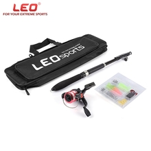 LEO 1.6M Telescopic Fishing Rod Combo with Fish Reel Hook Lure Tackle Accessory Fishing Rod/Reel/Lure/Hook /Bag 2017 NEW