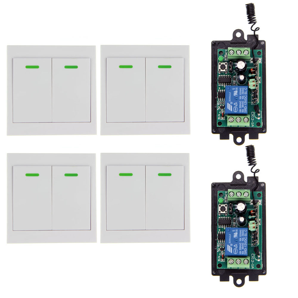 DC 9V 12V 24V 1 CH 1CH RF Wireless Remote Control Switch System Receiver+4 X 2CH Wall Panel Transmitter,315 / 433.92MHZ вспышка для фотокамеры 2xyongnuo yn600ex rt yn e3 rt speedlite canon rt st e3 rt 600ex rt 2xyn600ex rt yn e3 rt