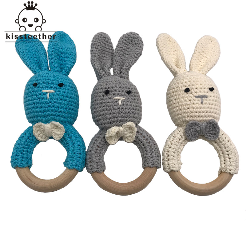 Handmade Wooden Natural Baby Teething Ring Chewie Teether Bunny Sensory Toy Gift