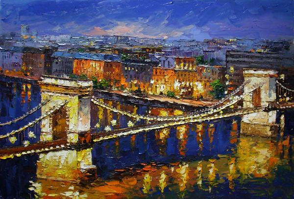 free shipping Mediterranean lighting bridge seaview oil painting canvas painting prints on canvas wall art decoration pictures