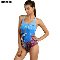 2016 New One Piece Suits Sport Swimwear Swimsuit Women Sexy Printing Backless Swimming Beachwear