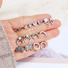 Bohopan 8Pairs/Set Silver Color Women Earrings Set Fashion Elegant Heart Shape Stud Earring Classic Simple Party Bijoux