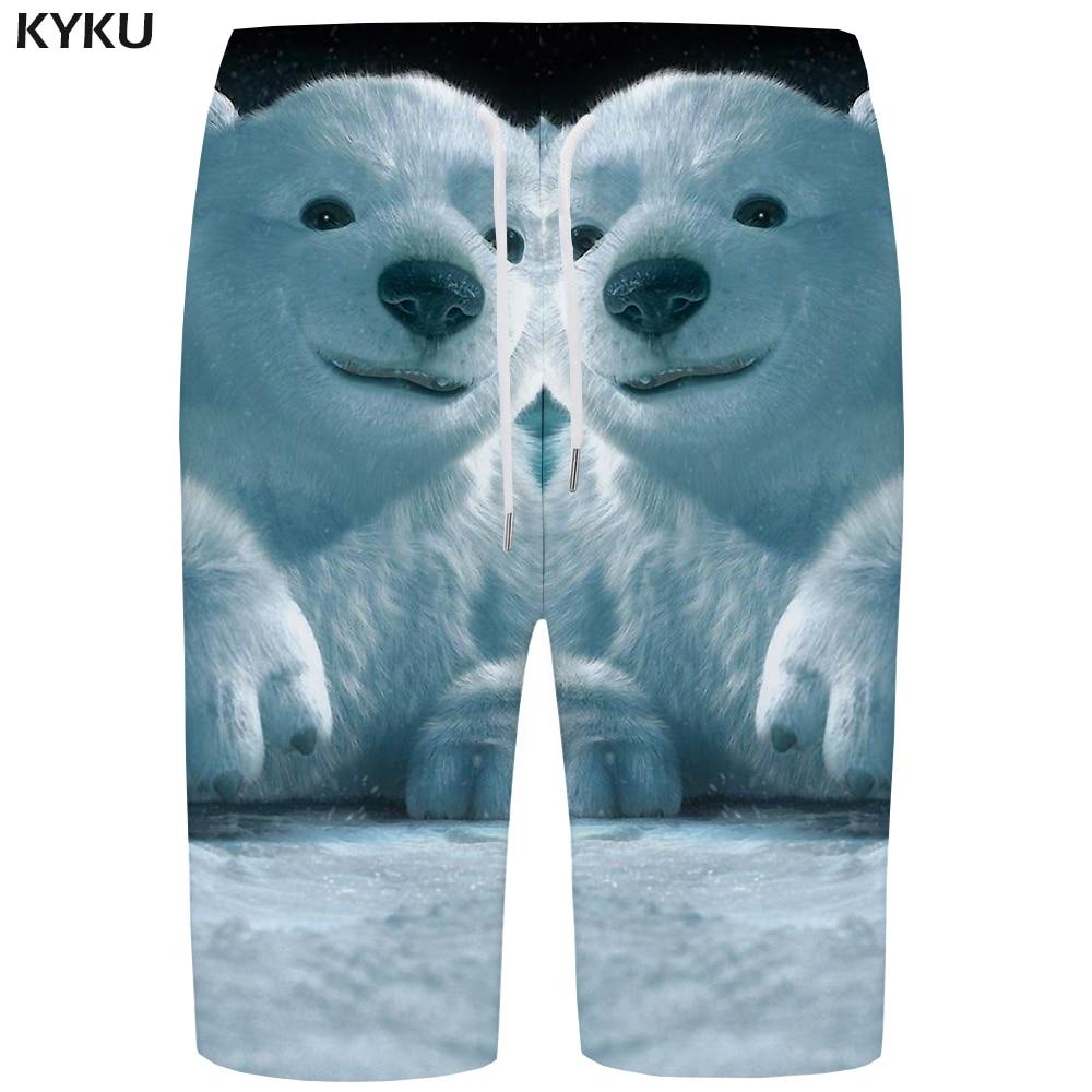 KYKU Bear   Board     Shorts   Men White Beach   Short   Pants Russia Snow 3d Printed   Shorts   Swimwear Quick Silver Sexy Animal Mens   Shorts