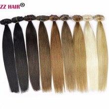 """Zzhair 16 """"40 см 100% бразильских волос 7 шт. комплект Зажимы в Пряди человеческих волос для наращивания 80 г Комплект на всю голову прямо Натуральных Волос -remy"""