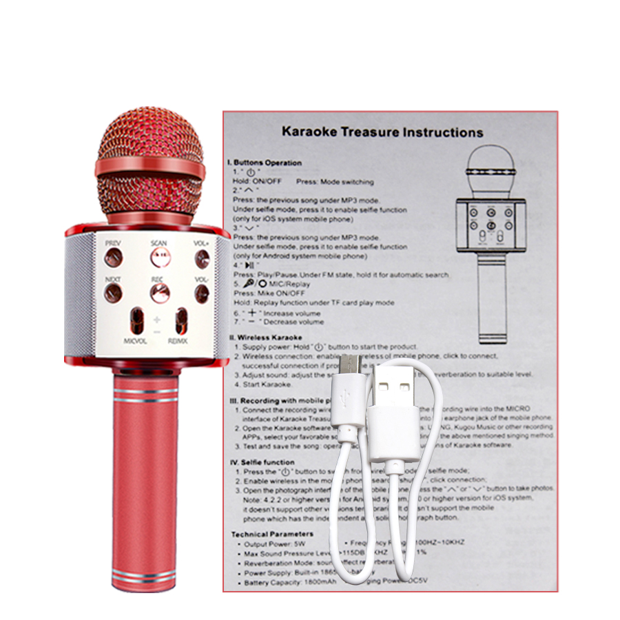 Bluetooth Wireless Handheld Karaoke Mic USB Mini Home KTV For Music Playing Singing Speaker Player 4