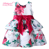 No size 2T just have size 3-4 5-6 7-8)2017 Hot A-line Flower Print Girl Cake Summer Dress Fashion Girl Clothes With Bow Sash