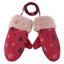DE126 Winter Warm Cartoon Printed Boys Girls Finger Autumn
