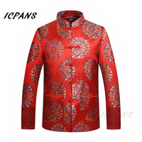 ICPANS Red Silk Jacket Men Traditional Chinese Clothing for men Dragon Tang Suit Men Chinese Tops Red Jacket Wedding Jacket